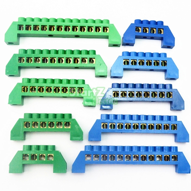 Green Blue Screw Brass terminal block Earth And Neutral block with ...