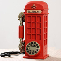 Europe style landline telephone british vintage home office phone kiosk antique court made of resin claret phone retro antik