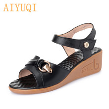 AIYUQI Women sandals wedge 2019 new women sandals genuine leather shoes women summer large size 41 42 43 casual mother sandals mother sandals soft leather large size flat sandals summer casual comfortable non slip in the elderly women s shoes 35 40 41