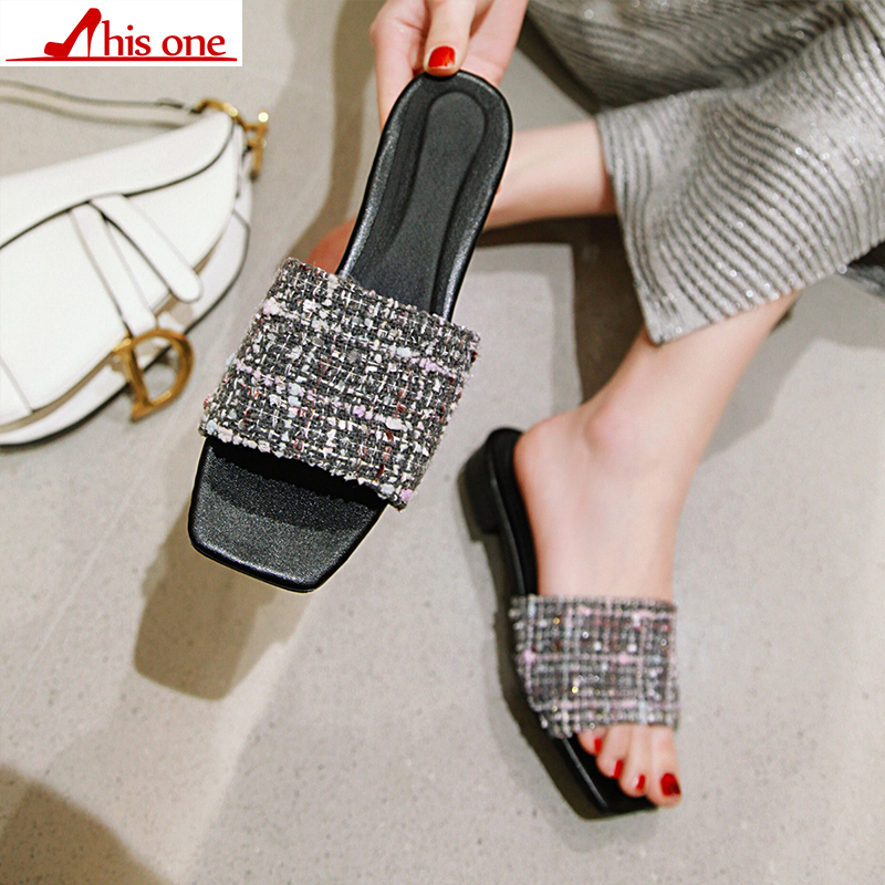 2019 nuevo verano sólido de tela plana zapatillas de interior mujeres antideslizante zapatillas de playa chanclas mujeres las diapositivas zapatos size34 48 - 4