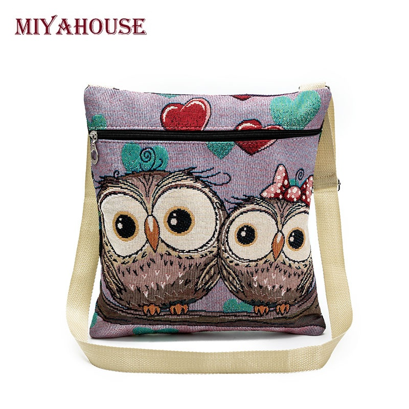 Miyahouse Cute Owl Printed Canvas Crossbody Shoulder Bags Summer Female Casual C