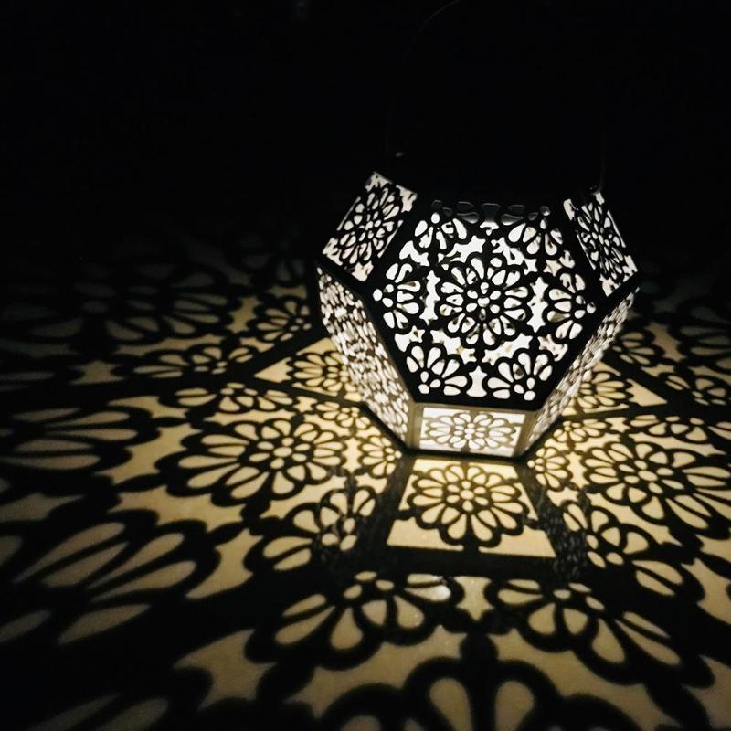 Винтаж Наружное освещение на солнечных батареях Diamond Водонепроницаемый IP44 светодиодный висит полые свет сада Новинка; Лидер продаж