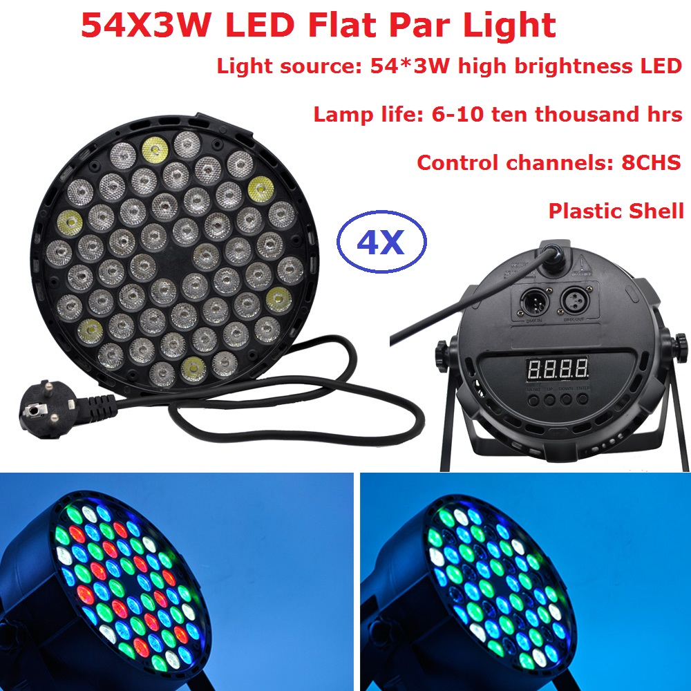 4Pcs/Lot Led Par Cans 54X3W RGBW 4 Colors Flat Par Light Strobe DMX Controller Party Dj Bar Strobe Dimming Effect Projector