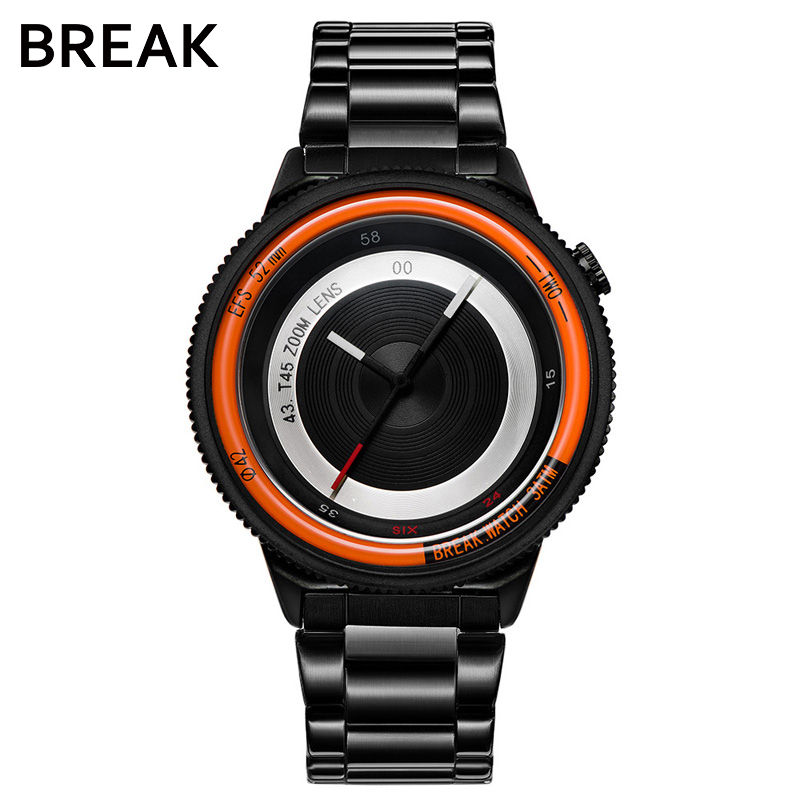 BREAK Men Women Unisex Top Luxury Brand Stainless Steel Strap Fashion Casual Quartz Sports Wristwatches Unique Creative Watches break photographer series unique camera style stainless strap men women casual fashion sport quartz modern gift wrist watches