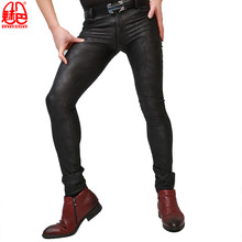 Pencil-Pants Tights Faux-Leather Punk-Style Korean-Version Men's Camouflage Stylish Soft