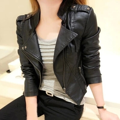 Autumn PU Motorcycle Biker Coat Women Fashion Short Design Leather Overcoat Blazer Jacket Suede Casual Windbreaker Punk S2672