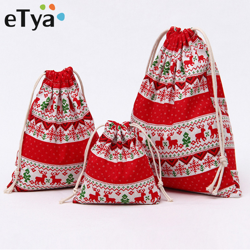 ETya Drawstring Christmas Gift Bags Cotton Drawstring Bags Makeup Bag Travel Pouch Storage Clothes Shoes Women Men Handbag