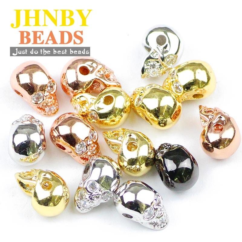 JHNBY 4 stücke Schädel Anhänger Kupfer Spacer perlen Inlay zirkon Charms Lose perlen für Schmuck armband & Armreif, der DIY erkenntnisse
