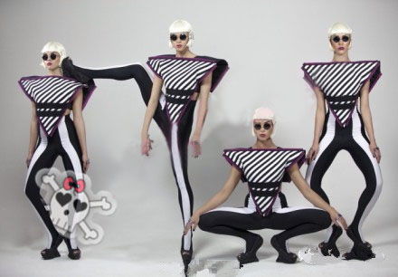 Lady Gaga Sexy Stage Performance Dance Wear Costume Stripe Triangle Tops Skinny Pants Tube Tops 3pcs Women Fashion Clothing Sets