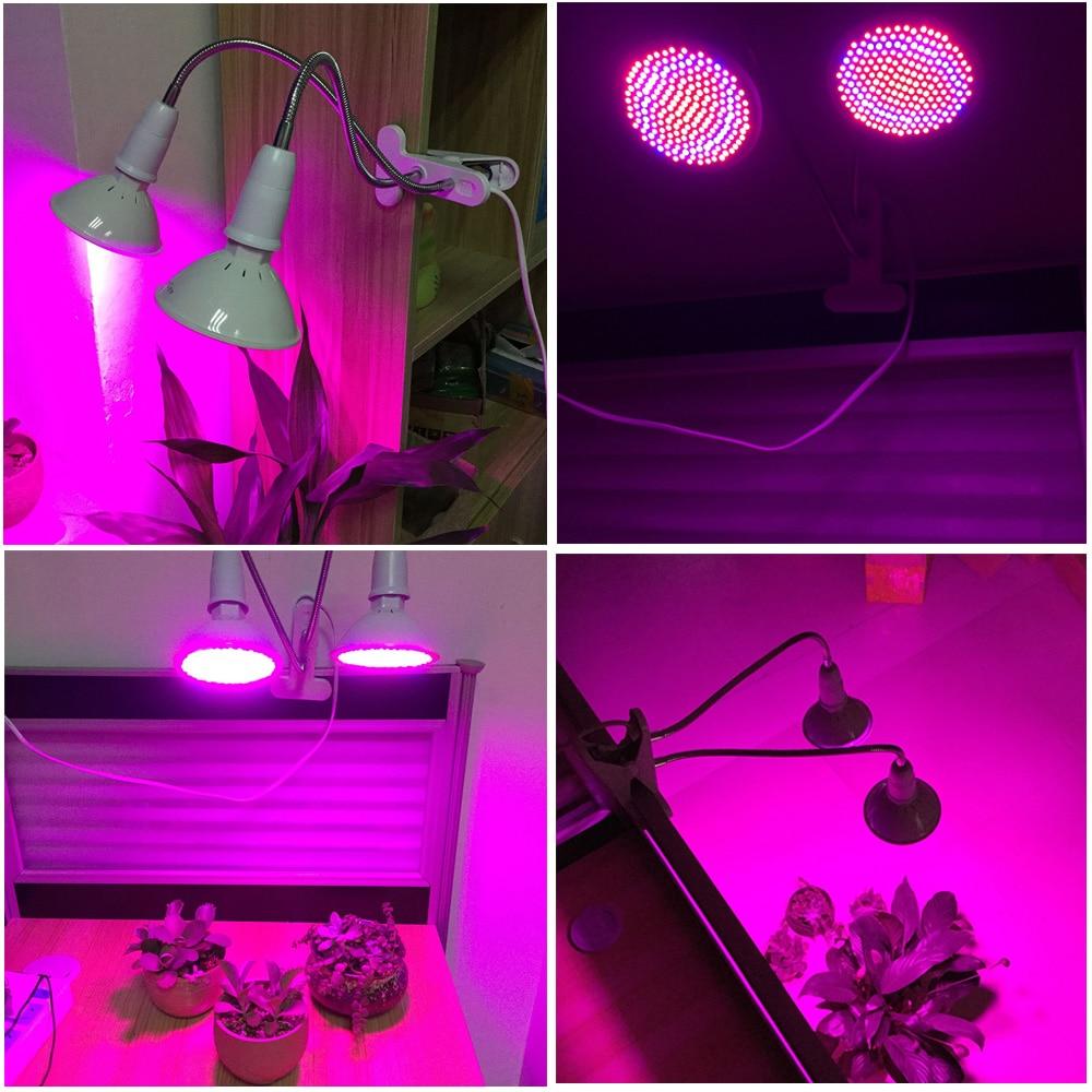 dual 200 led plant grow light bulb lamp desk clip holder set