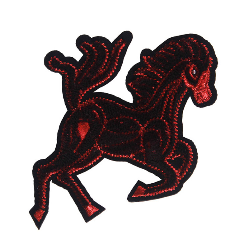 1piece Red Horse Badge Patches Iron on Applique Lace Fabric Sticker T-shirt Garment Bag Decorated Craft Sewing AccessoriesTH446