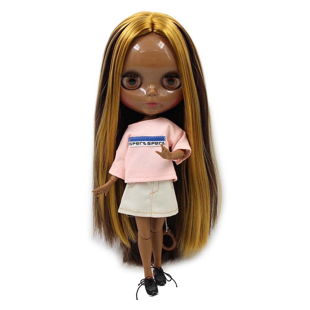 Super Black skin Blyth Nude doll JOINT body shine face golden mix brown hair no bangs