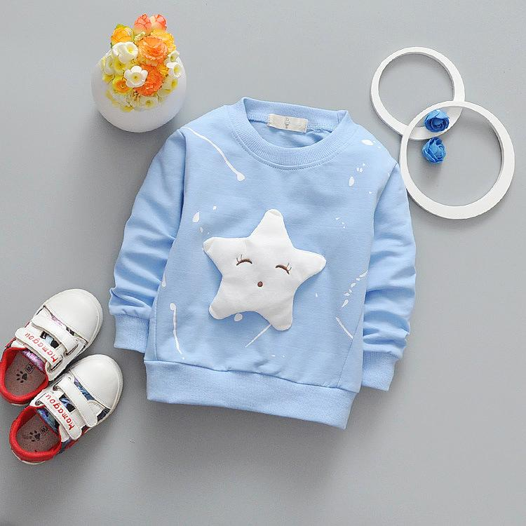 Long-Sleeved Baby Boys Girls Sweatshirts Spring Autumn Five-Pointed Cartoon Kids T-shirts 2017 New Arriavl Children Clothing