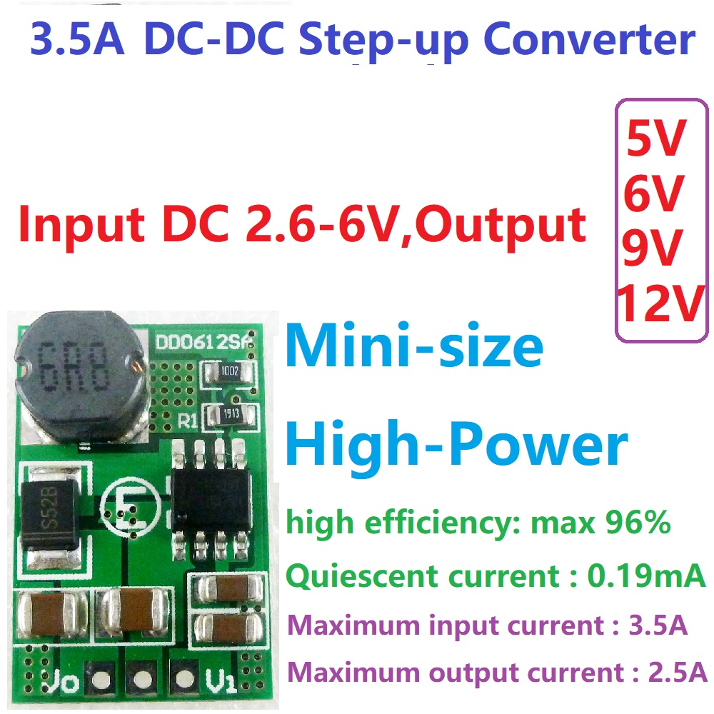 1 PCS <font><b>3.5A</b></font> DC-DC 3V 3.3V 3.7V 4.2V 5V to 5V 6V 9V <font><b>12V</b></font> Step-up Boost Converter Voltage Regulate <font><b>Power</b></font> <font><b>Supply</b></font> Module Board image
