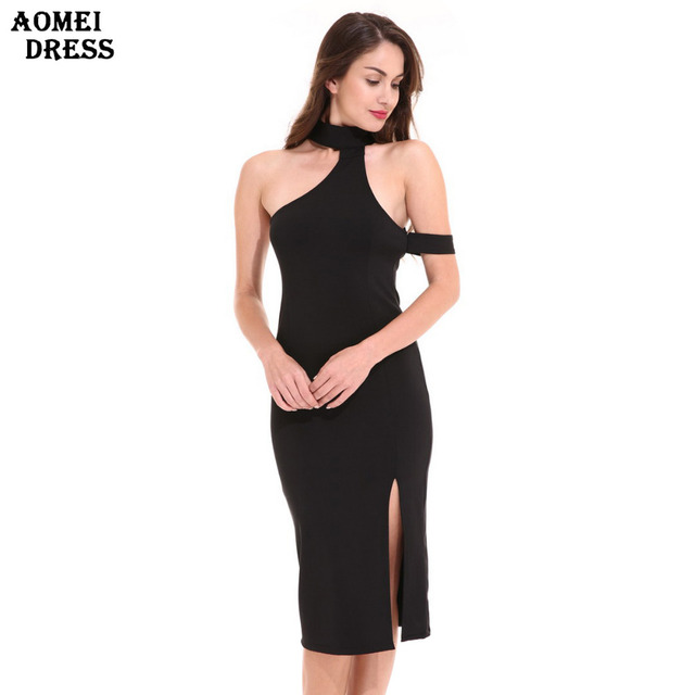 8ba2fa5fc7f Women s Black Sexy Slim Bodycon Slit Dress Halter Girls Tight Sheath  Clubwear Evening Party Robe Knee Length Pencil Dresses