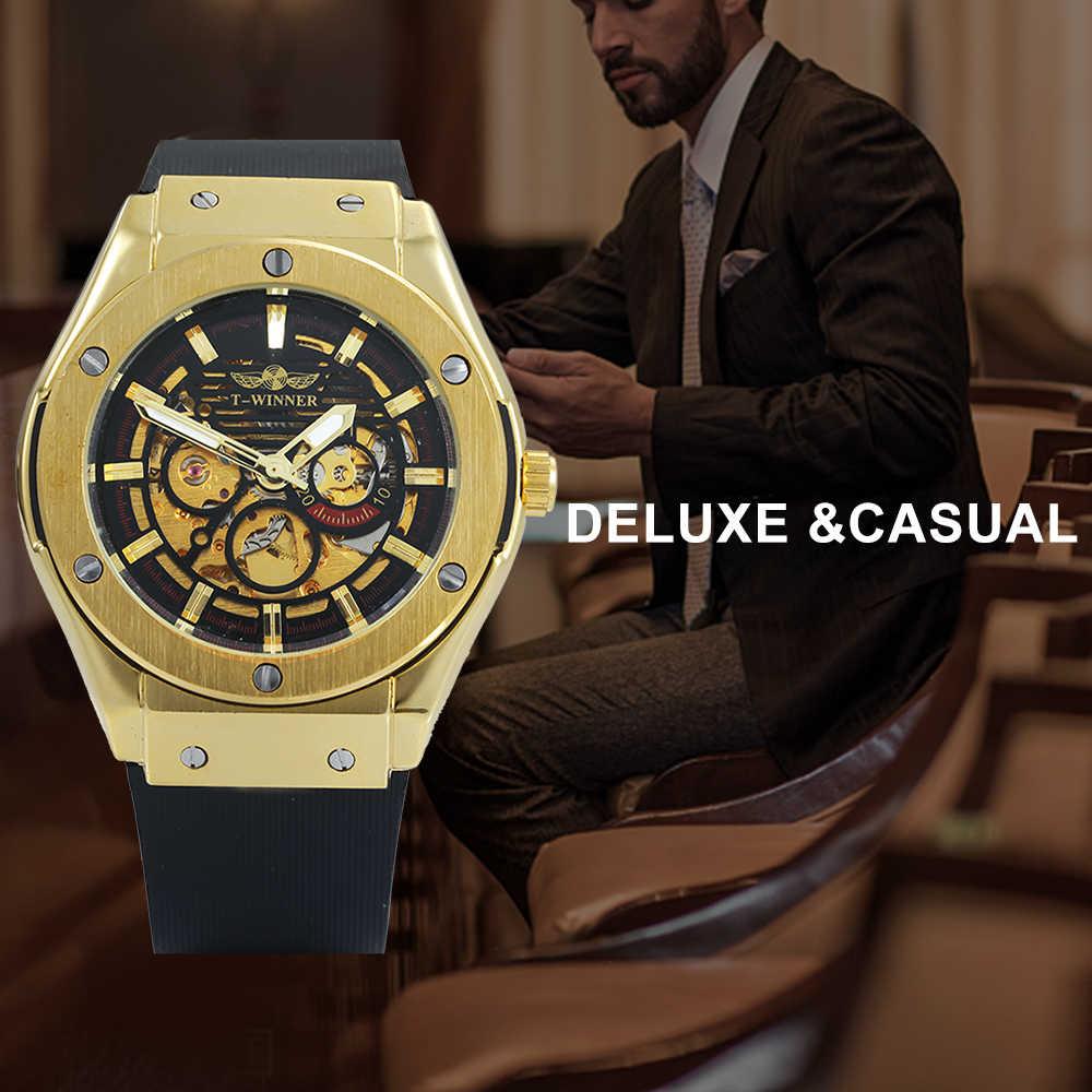 WINNER Men Watches 3 Dial Golden Metal Series Top Luxury Brand Automatic  Watch Luxury Brand Mechanical Skeleton Male Wrist Watch
