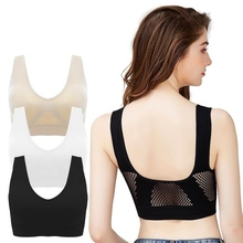 Women Bra Sports Breathable Mesh Sport Bra Top Women Hollow Out Cross Shockproof Push Up Bras For Fitness Running Gym Vest chic spaghetti strap criss cross hollow out sports bra for women