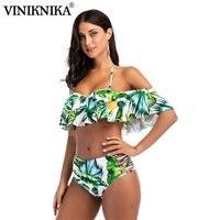 VINIKNIKA Woman Sexy Lotus Leaf Bikini Set Summer Sexy Hanging Neck Split Swimsuit Beach Lady High