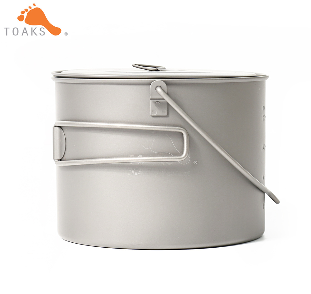 TOAKS POT 1300 BH Titanium Outdoor Camping Hanging Pot With Bail Handle Easy to Carry 1300ml