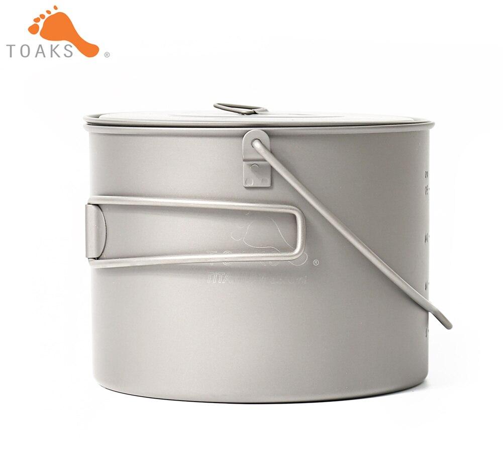 TOAKS POT-1300-BH titane Camping en plein air suspendus Pot avec poignée de Bail facile à transporter 1300 ml 141g