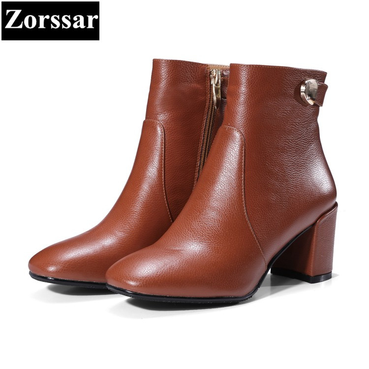 {Zorssar} 2017 NEW winter Female shoes Genuine Leather High heels Square Toe ankle boots short plush fashion womens short boots black 2016 wine red navy blue cashmere genuine leather round toe shallow mouth ultra high heels female boots female
