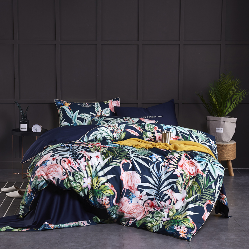 Egyptian Cotton Soft Duvet Cover Fitted/Bed Sheet Set Flamingo Paisley Bedding Set Family Set Twin Queen King Size 4Pieces