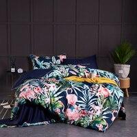 Funda de edredón suave de algodón egipcio ajustada/juego de sábanas de cama de múltiples colores de flamenco Paisley juego de cama doble reina tamaño King 4 piezas