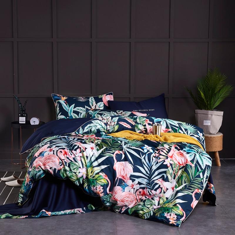 Housse de couette douce en coton égyptien/ensemble de draps Multi couleur Flamingo Paisley ensemble de literie Twin Queen King size 4 pièces