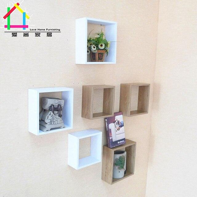 Einfache Holzregale kreative gitterwand lagerregal hause clapboard wandbehang