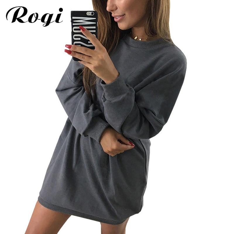 bc87d7aa4c2 Rogi Hoodies Dress Women 2019 Spring Long Sleeve Jumper Sweatshirt Mini Dress  Female Ladies Party Dresses