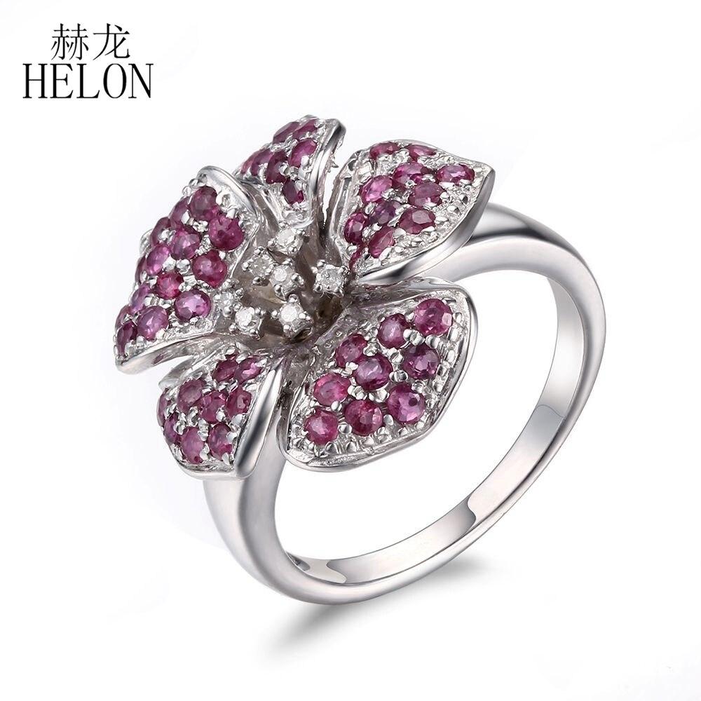 HÉLON 925 Sterling Argent Pave Réel Ruby Naturel Diamants Ring Fine Jewelry Engagement De Mariage Argent Fleur Anneau Anneau de Pierre Gemme