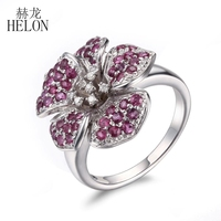 HELON 925 Sterling Silver Pave Real Ruby Natural Diamonds Ring Fine Jewelry Engagement Wedding Silver Flower Ring Gemstone Ring