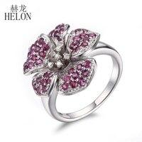 HELON 925 безукоризненные Серебрянные Серьги настоящий Рубин Природные Алмазы кольцо прекрасное ювелирное дело свадебное серебряное кольцо с