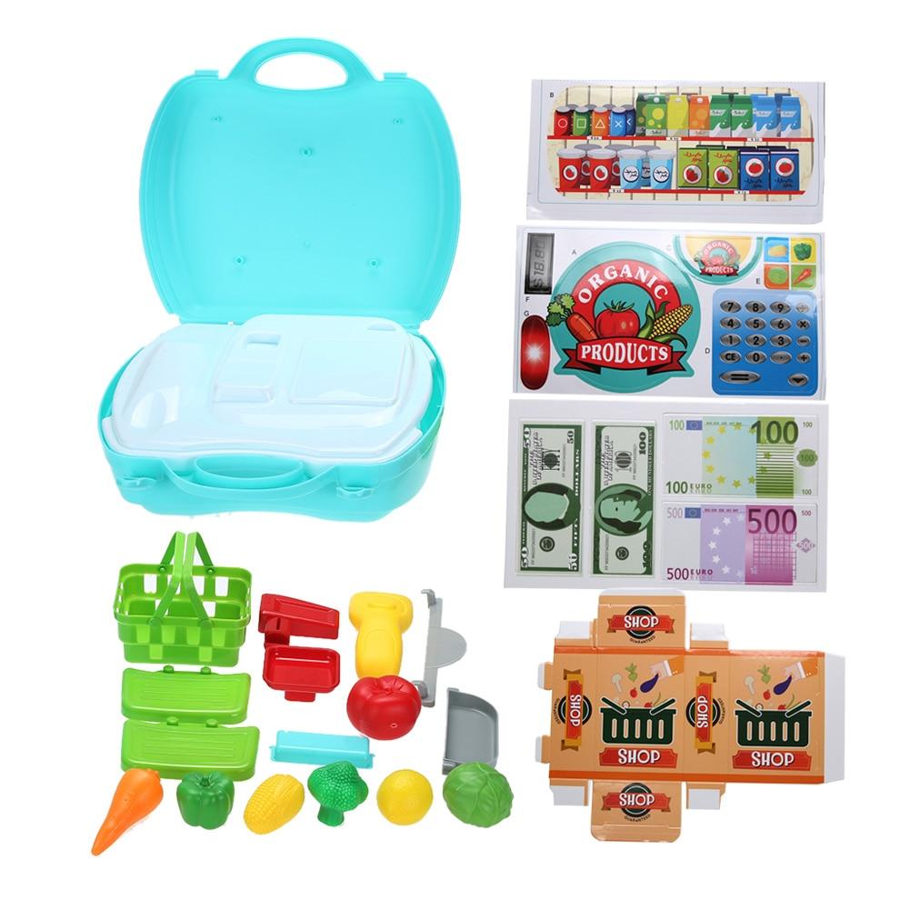 Portable Fruit Store Shop Box Tool Kit Kids Children Role Play ...