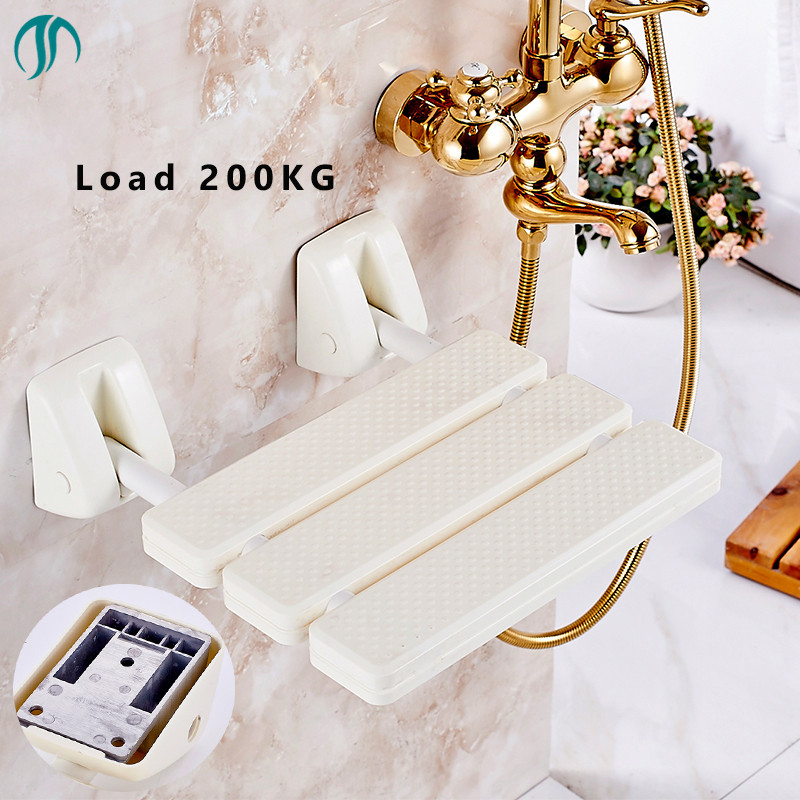 Bathroom  Stainless Steel Shower Folding Seat Wall Mounted Safety Helping Folding Shower Chair Bathroom Toilet Chair For Elderly bathroom folding seat shower stool shower wall chair stool old people anti skid toilet stool bath wall chair