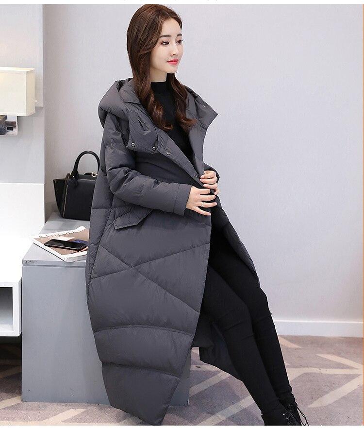 2018 di inverno di vendita calda delle donne lungo parka nero grigio più il formato cappello di modo di inverno giacca