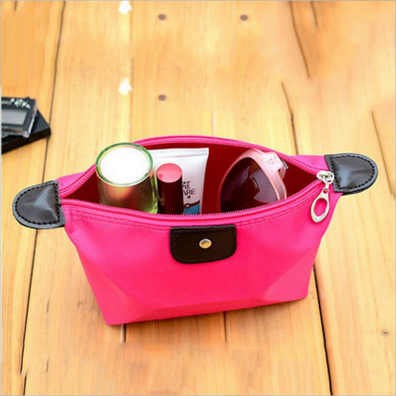 Candy Color Ladies Cosmetic Bag Nylon Waterproof Beautician Makeup Storage Bag Travel Organizer Essential