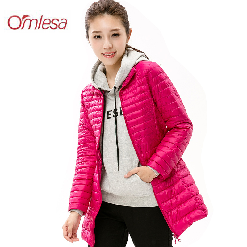 OMLESA 2017 Long Ultra Light Duck   Down   Jacket Womens Autumn Winter   Coat   Slim Warm Thin Duck   Down     Coat   Female   Down   Parks YR4048