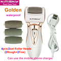 Gold waterproof pedicure electric tools Foot Care Exfoliating Foot Care Tool 4pcs roller pedicure heads For scholls KIMISKY