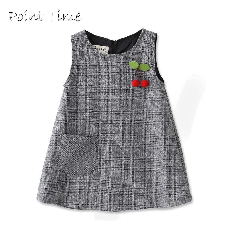 Baby Girls Princess Dress Sleeveless Autumn Winter Dress for Toddler 2-10 Years Children Fashion Clothing Gray Dress Cute Cherry