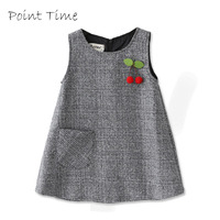 Cute Cherry Baby Girls Princess Dress Sleeveless Autumn Winter Dress For Toddler 2 10 Years Children