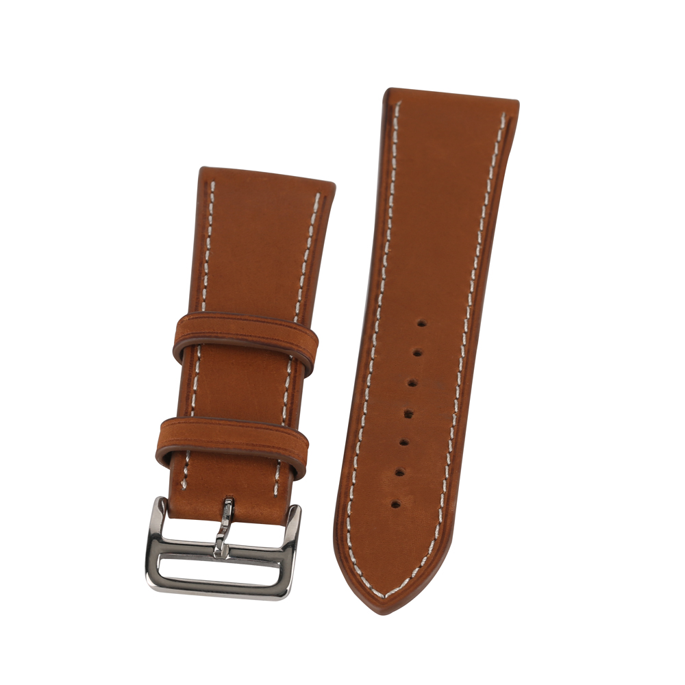 Brown Color 22mm 24mm Cowhide Genuine Leather Watchband Pin Buckle Men Watches Strap Luxury Replacement Bracelet