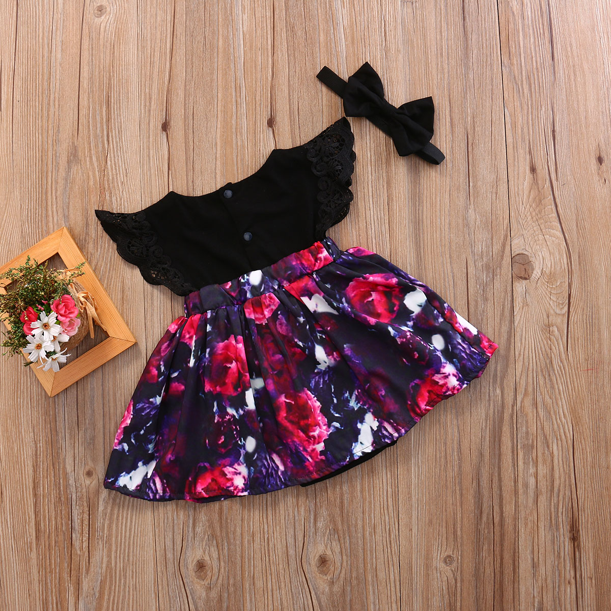 2pcs Toddelr Kid Baby Girl Sister Matching lace Floral petal sleeve o-neck Romper Dress Outfits +black bow headband Set A