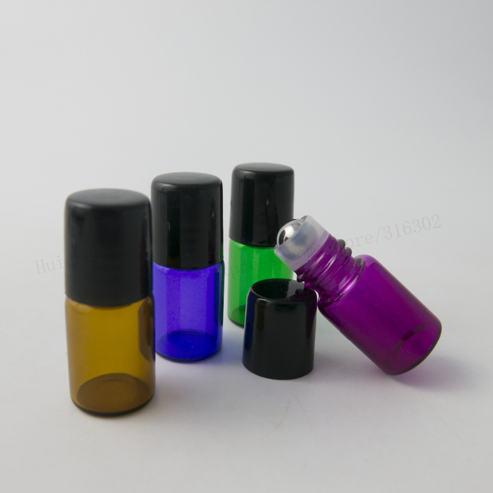 Купить с кэшбэком 50 x 1ml 2ml Empty Refillable Glass Roll on Bottle with Stainless Steel Roller Small Essential Oil Roller-on Sample Bottle