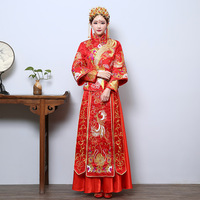 Bride Summer Long Sleeve Marry Phoenix Gown Bridal Chinese Toast Wedding Dress Cheongsam New Autumn and Winter Clothes