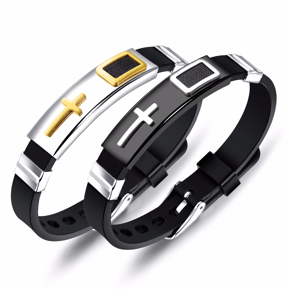 FATE LOVE Brand Fashion Jewelry Christian Male Men Cross Bracelets & Bangles Black Silicone Stainless steel Adjustable FL1247