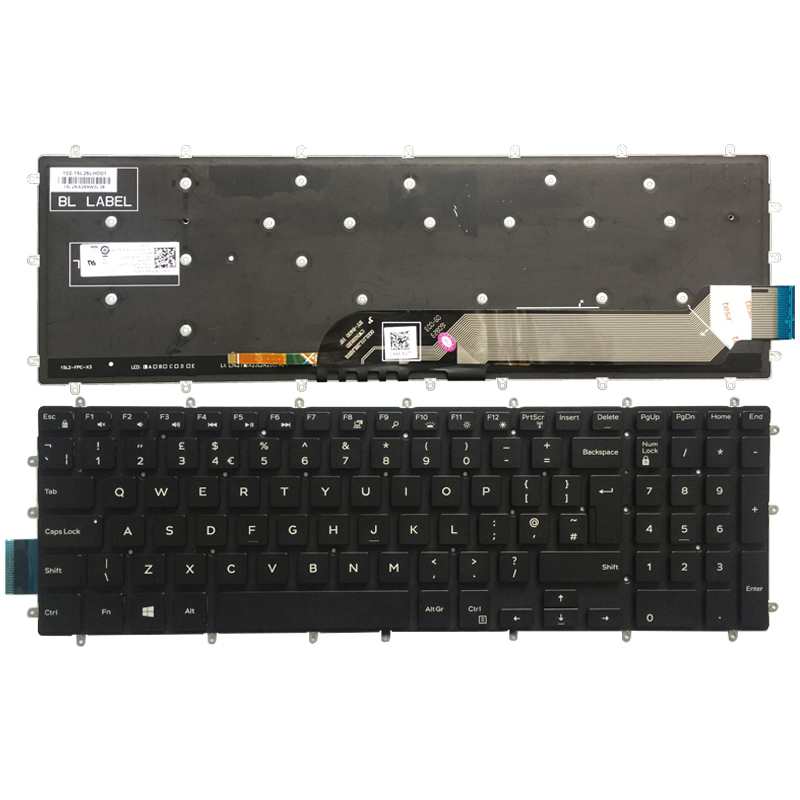New UK Laptop Keyboard For Dell Inspiron 7567 7566 7577 7587 7570 7580 Keyboard Layout White Font With Backlit