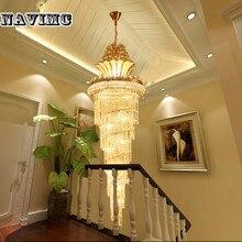Large Oro Imperial K9 Araña De Cristal de Hotel Habitación Sala de estar Escalera Lámpara Colgante Colgante de Iluminación Grande Europeo