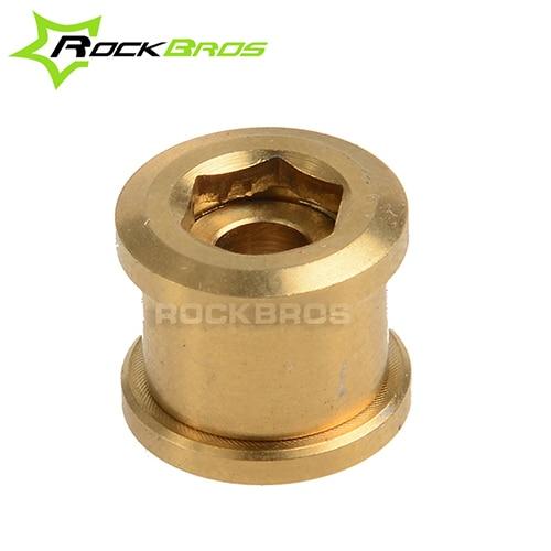 ФОТО ROCKBROS 10Pairs/lot Titanium M8  MTB Crankset Chainring Bolts Road Bike Nuts Bicycle Accessories 6AL/4V Titanium Alloy Golden