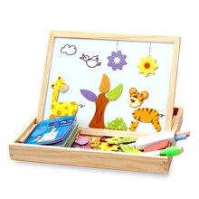 100 + шт. деревянный магнитный паззл рисунок/Животные/автомобиль/цирк доска для рисования 5 видов стилей коробка обучающая игрушка в подарок